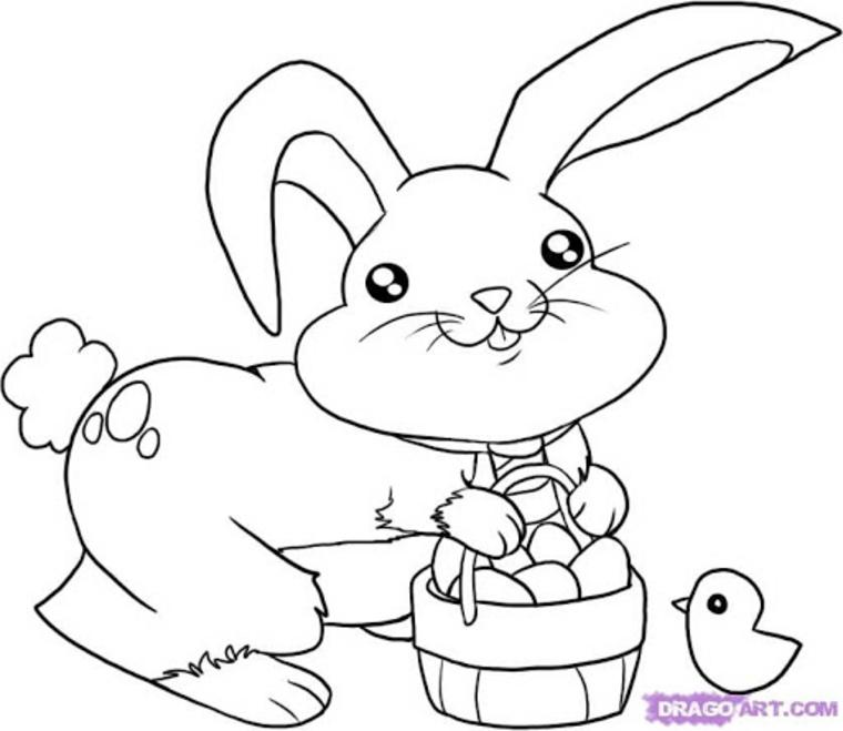 disegni uova di pasqua schizzo da stampare di coniglio con cesta