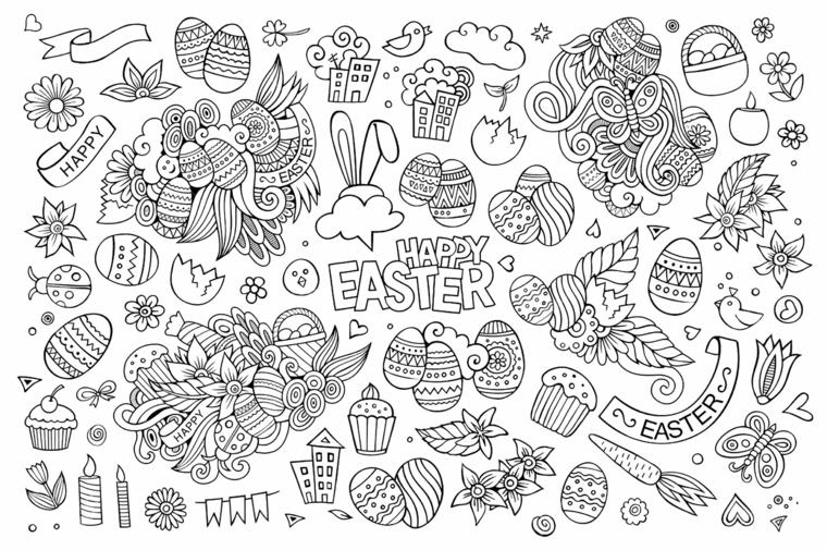 disegni uova di pasqua scritta happy easter schizzi da stampare e colorare