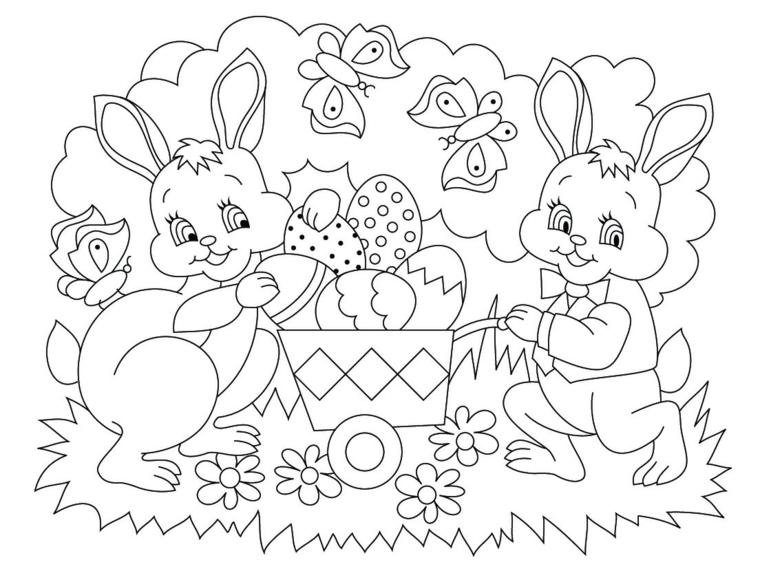 disegno di conigli pasquali con uova da colorare immagini per bambini da stampare