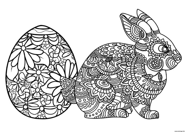 disegno di coniglio pasquale con motivi mandala da colorare uovo da stampare