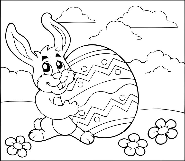 disegno pasquale da stampare e colorare per bambini schizzo di coniglio con uovo