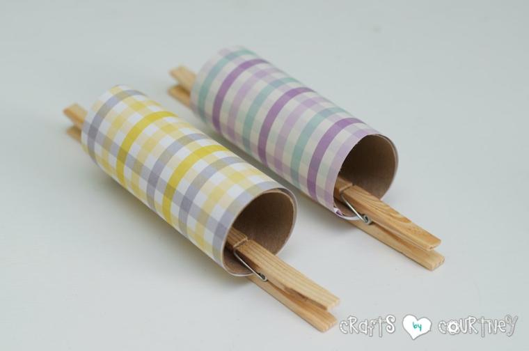 fissare la carta con colla vinilica creazioni con rotoli di carta igienica coniglietto pasquale