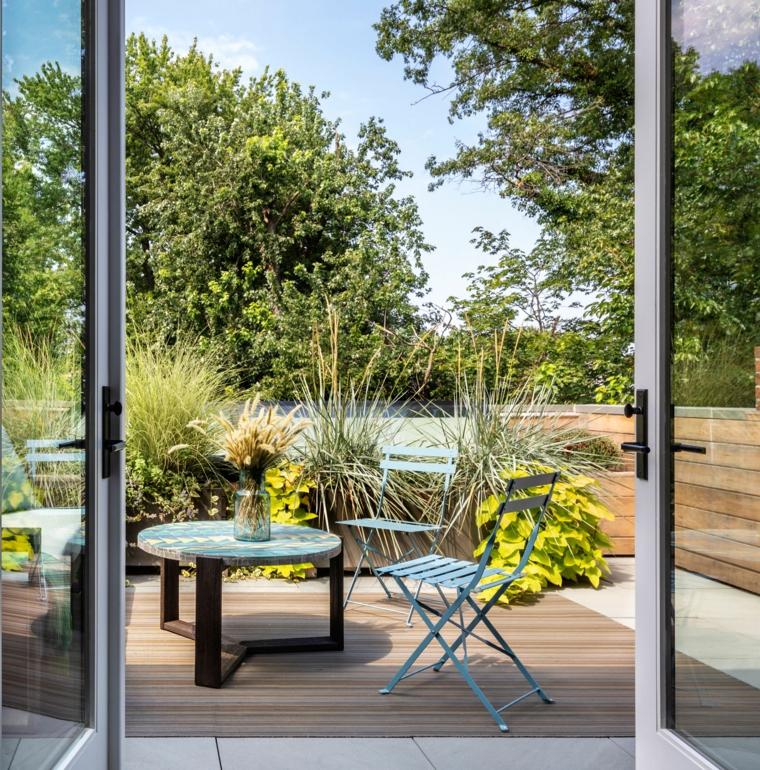 giardini piccoli moderni set di mobili in legno pavimento in legno da esterno
