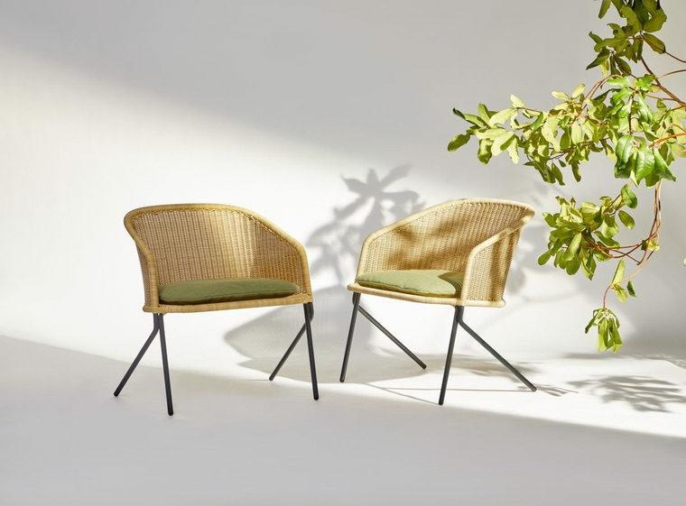 giardini piccoli moderni set di sedie in rattan con cuscini verdi