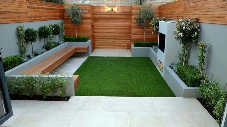 idee giardino piccolo fai da te arredo con panchina in legno pavimento verde