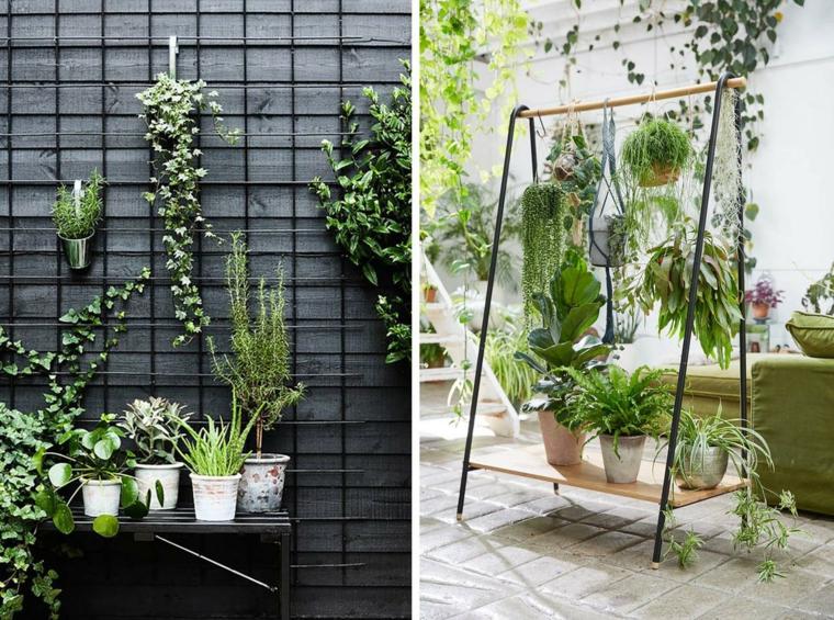 idee giardino piccolo fai da te panchina di legno con vasi di piante