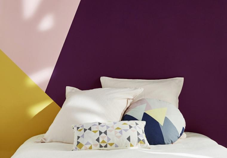 idee per dipingere camera da letto abbinamenti di tre colori con figure geometriche