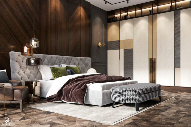 idee per dipingere camera da letto boiserie in legno moderna illuminazione con faretti