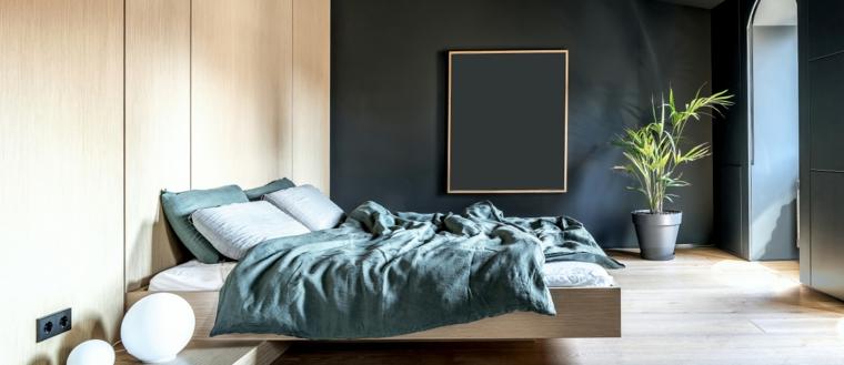 idee per dipingere camera da letto verde salvia e pannello in legno nuance chiara