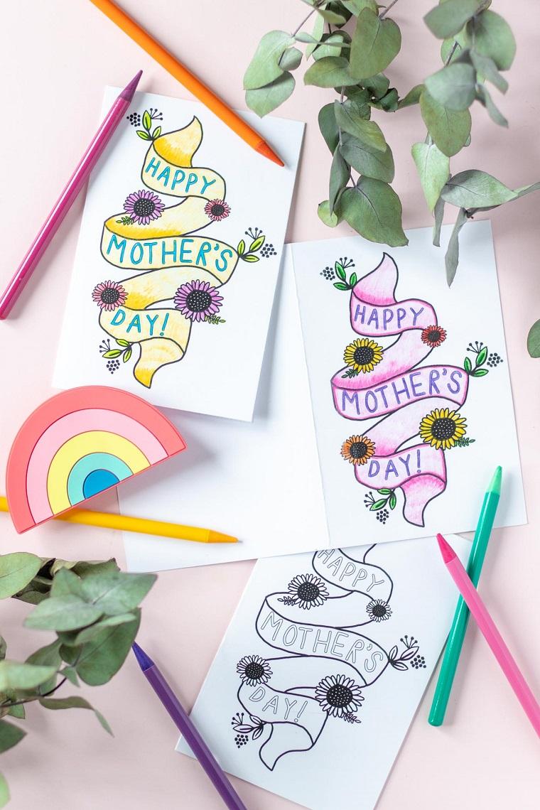 idee regalo per la festa della mamma cartolina con scritta e disegno colorato