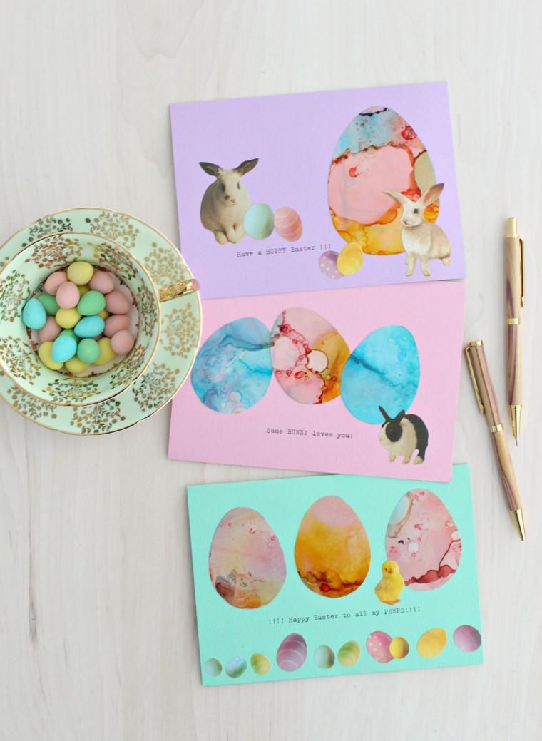 lavoretti creativi lavoretti di pasqua per bambini cartolina con disegno uova disegno con inchiostro ad alcool