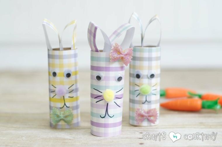 lavoretti di pasqua con rotoli di carta igienica coniglietti con orecchie
