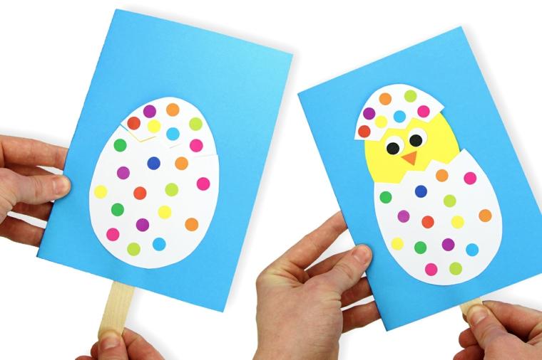 lavoretti di pasqua per bambini facili cartolina con uovo e pulcino