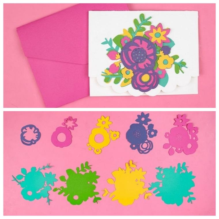 lavoretti per la festa della mamma cartolina con ornamenti tridimensionali di fiori