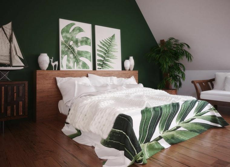 mansarda allestita come zona notte abbinamento colori pareti camera da letto decorazione con motivi tropicali