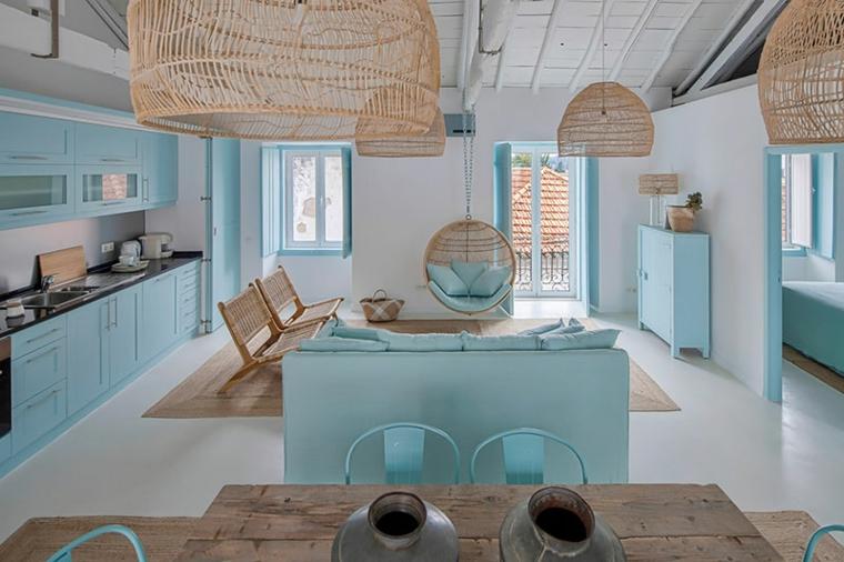 open space soggiorno cucina arredo con mobili in rattan come abbinare il verde tiffany