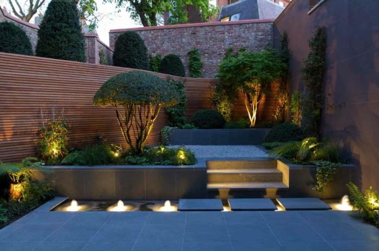 outdoor a livelli illuminazione a led giardini moderni con sassi