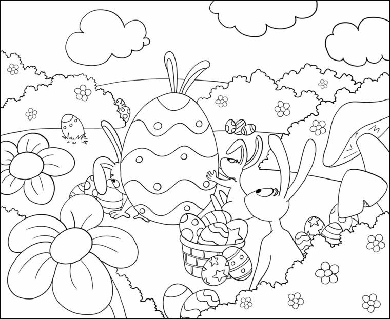 paesaggio di conigli pasquali con uovo da colorare disegno per bambini da stampare