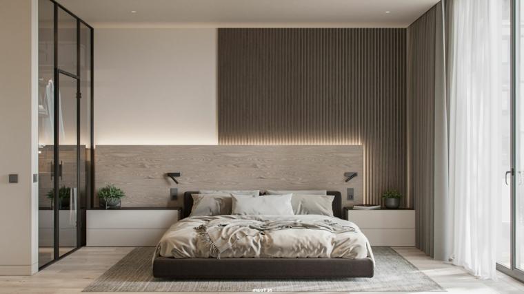 pannello in legno dietro il letto parete bianca con boiserie moderna in legno
