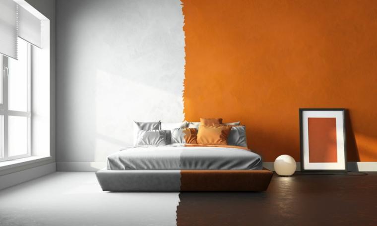 pareti bicolore camera da letto bianco e arancione decorazioni minimal con quadro