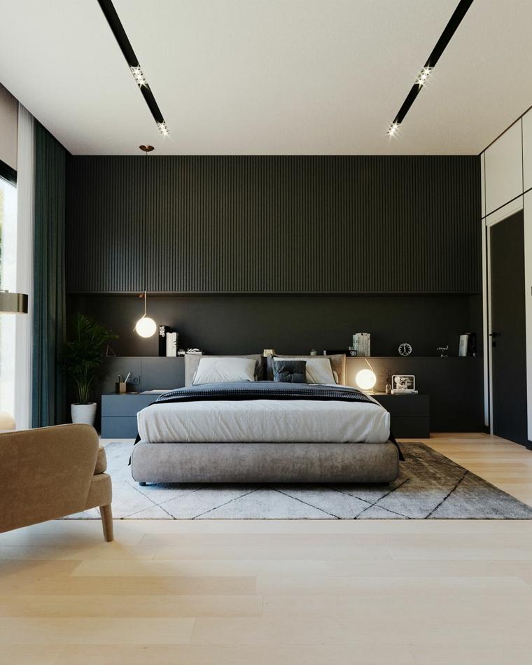 pareti bicolore camera da letto boiserie in legno di colore nero soffitto con lampade led