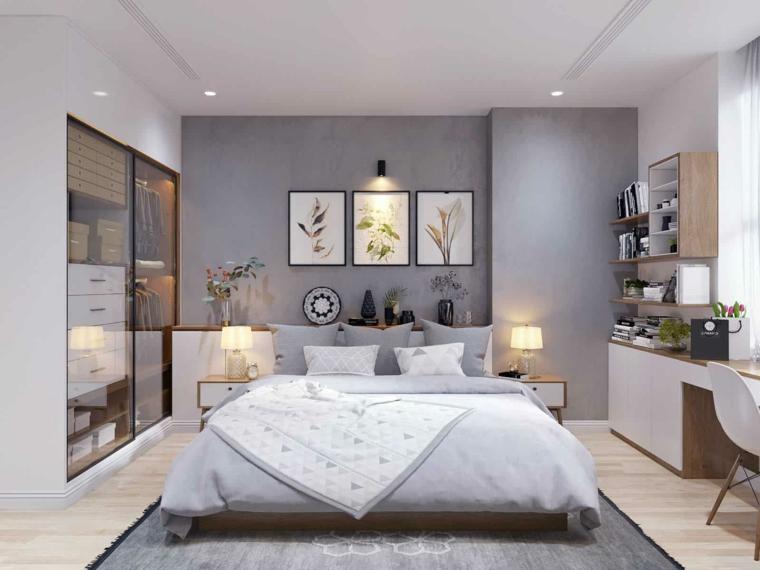 pareti colorate camera da letto bianco e grigio decorazione muri con quadri