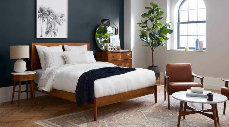 pastello colori rilassanti per camere da letto muro dipinto di blu scuro e bianco
