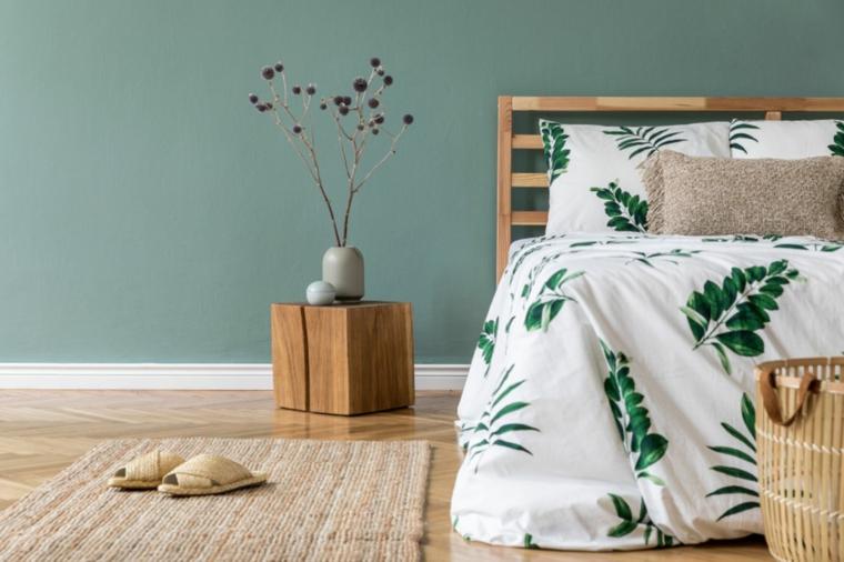 pastello colori rilassanti per camere da letto pittura muro verde chiaro decorazione con vaso di fiori