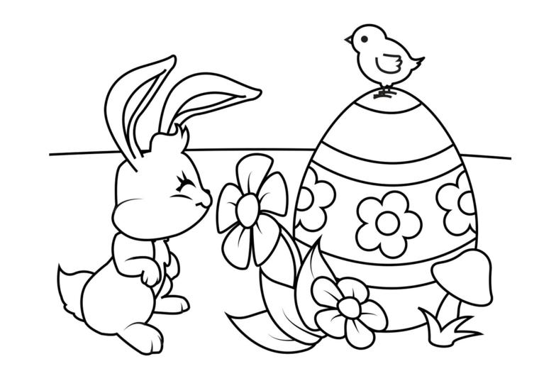 piccolo coniglio accanto ad un uovo di pasqua disegno per bambini da stampare