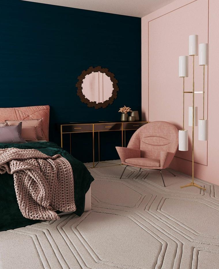 pittura cameraa da letto classica pareti blu scuro e rosa pavimento con tappeto morbido