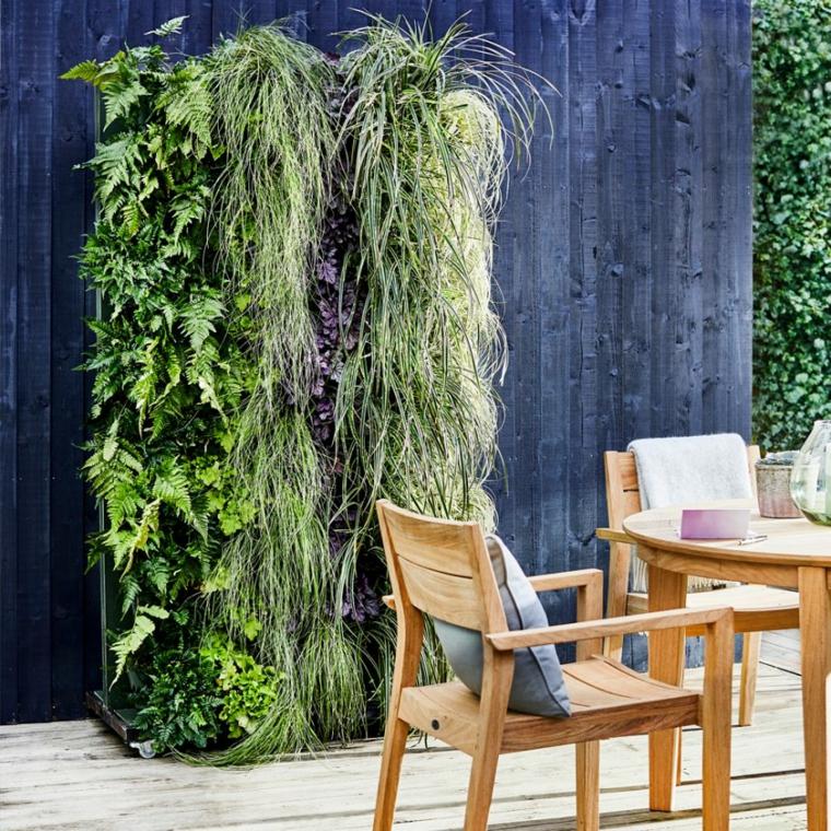 progetto giardino rettangolare arredo con set di mobili in legno parete verde