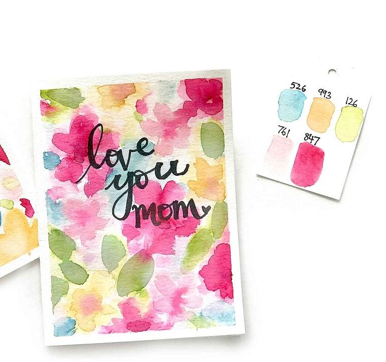 regali originali festa della mamma cartolina con scritta e disegno watercolor