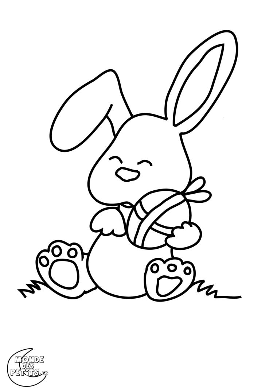 schizzo di un coniglio con ovetto pasquale disegno di pasqua da colorare per bambini