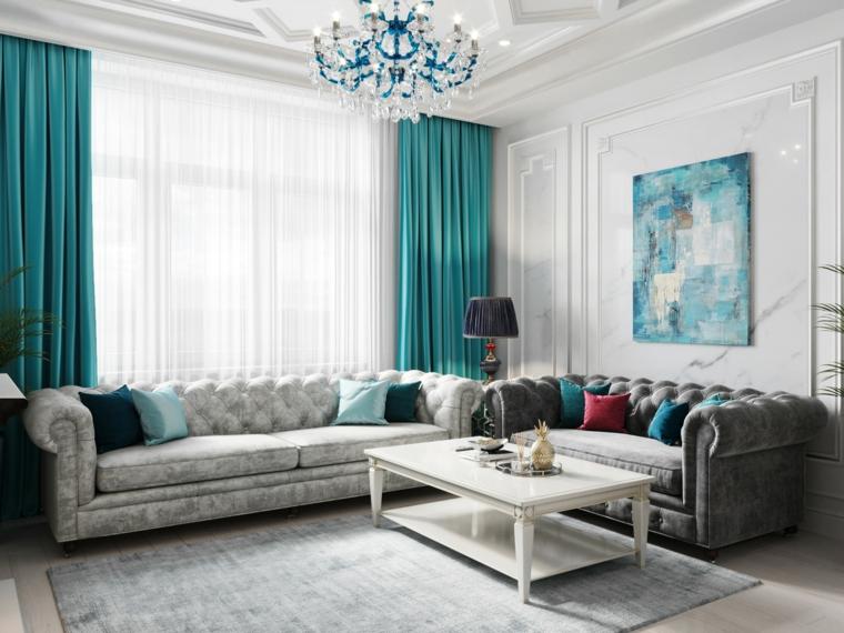 soggiorno arredo stile classico tende tiffany abbinate al lampadario