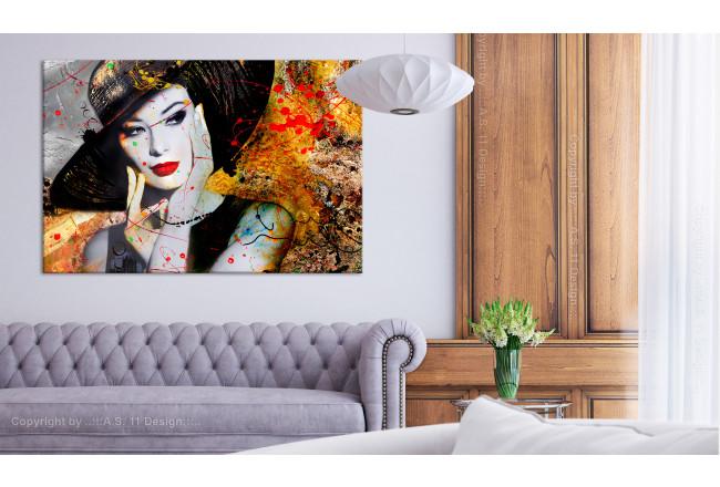 soggiorno con divano grigio wall art con quadro su tela dipinto