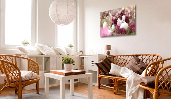 soggiorno con pareti decorati wall art quadro su tela tulipani