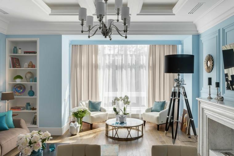 soggiorno con pareti nuance tiffany arredamento con mobili stile eclettico