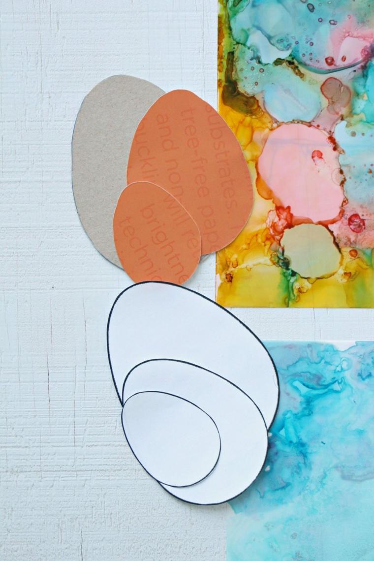 stencil di uova pasquali disegno cartolina con inchiostro ad alcool biglietti auguri pasqua fai da te