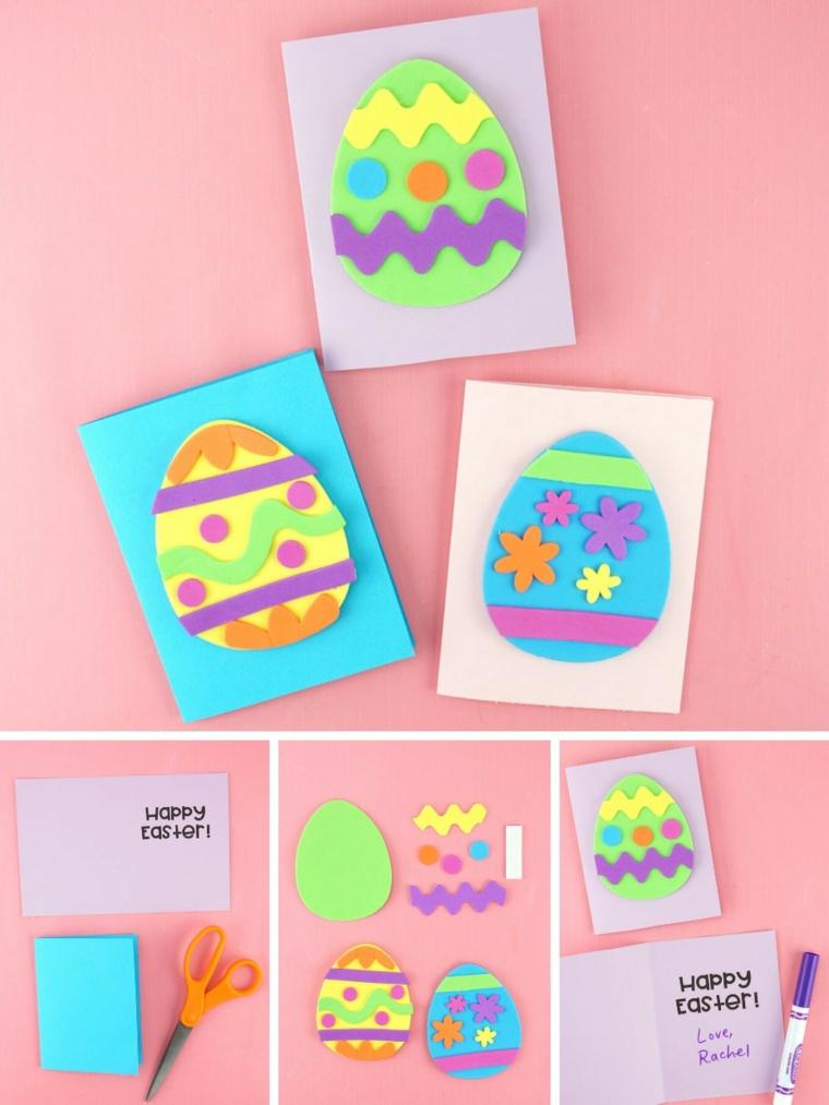 tutorial cartolina di pasqua facile bricolage con uovo di carta decorato con washi tape