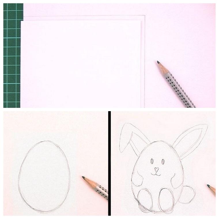 tutorial disegno coniglietto forma uovo lavoretti di pasqua con la carta