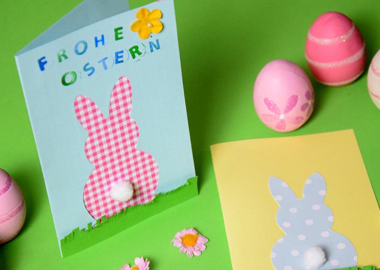 tutorial lavoretti di pasqua cartolina con sagoma di coniglietto decorazione con scritta