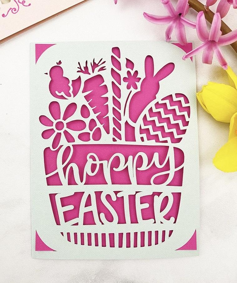 tutorial lavoretti di pasqua cartolina stampata con scritta happy easter tridimensionale