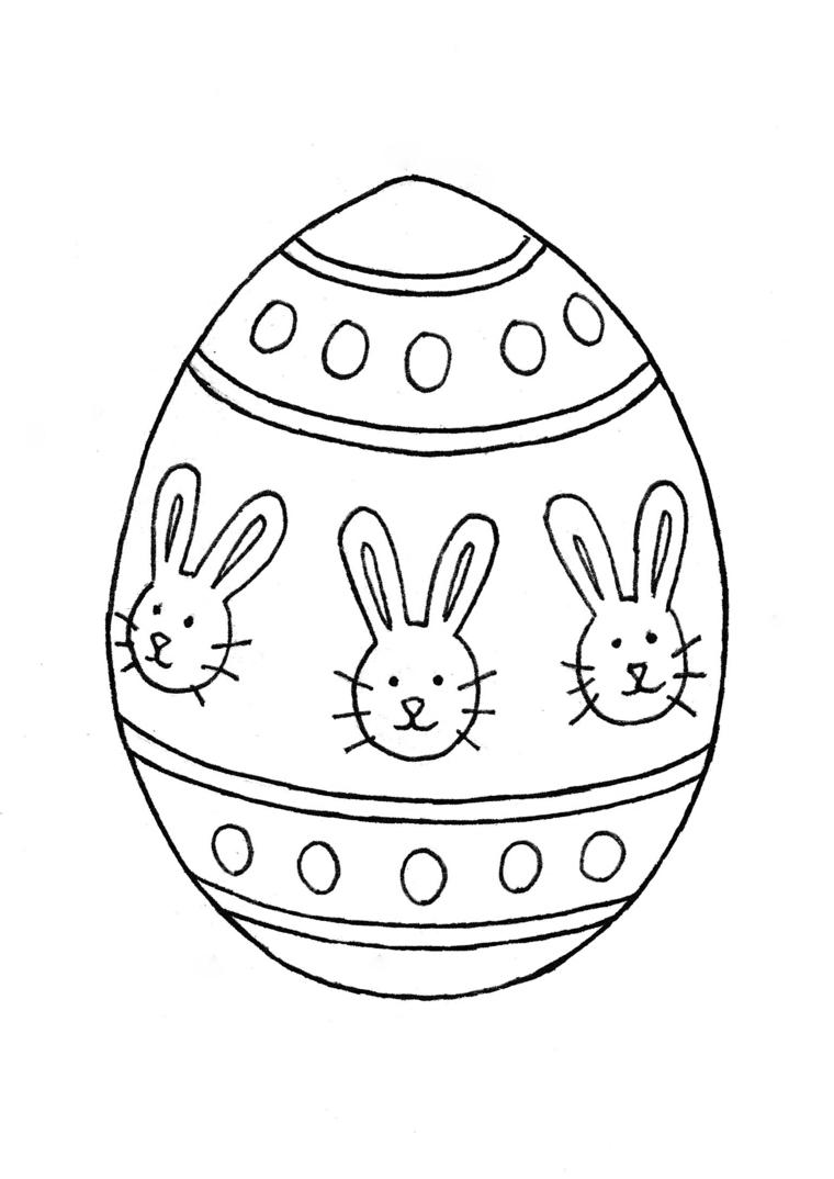 uova di pasqua da colorare schizzo da stampare e colorare con coniglietti