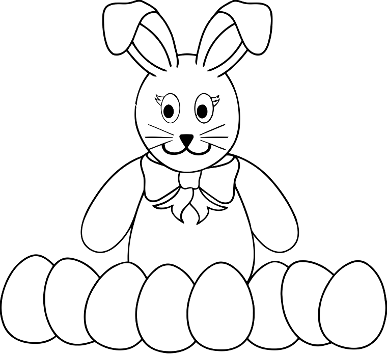 uova pasquali da decorare e colorare disegno di coniglio di pasqua da stampare