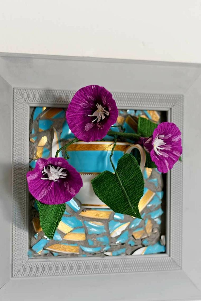vaso da parete con cornice di legno regali per la festa della mamma fatti in casa