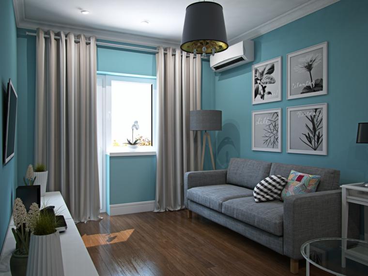 verde tiffany parete soggiorno con divano e tende grigie decorazione parete con quadri