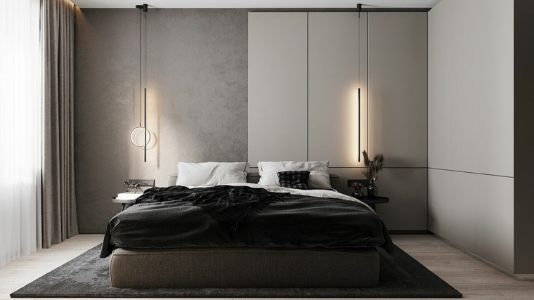zona notte con cabina armadio abbinare due colori in una stanza
