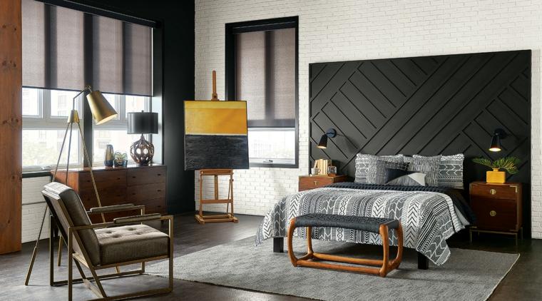 zona notte con mobili in legno boiserie moderna dietro il letto