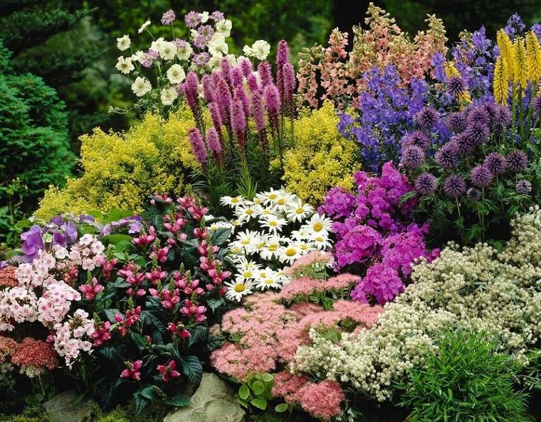 aiuole con sassi fai da te giardino con fiori dai petali colorati