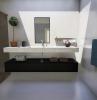 bagno futuristico di cemento bianco e grigio tendenze nel design bagno